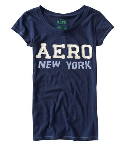 Aeropostale Womens Aero New York Glitter Graphic T-Shirt navyniblue XS