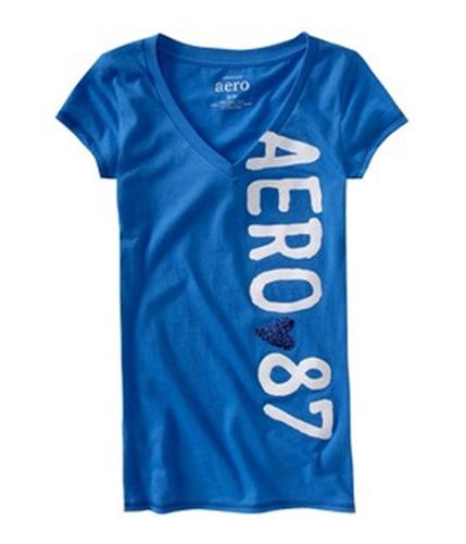 Aeropostale Womens Glitter Aero Heart 87 Pajama Sleep T-shirt rivierablue XS