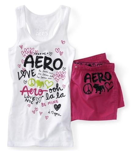 Aeropostale Womens He Loves Me Dorm Tank Boxers Set Pajama Sleep T-shirt 102 XS