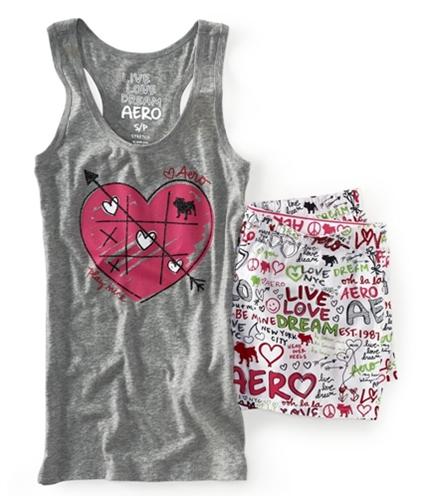 Aeropostale Womens Hearts Dorm Tank Boxers Set Pajama Sleep T-shirt 052 XS