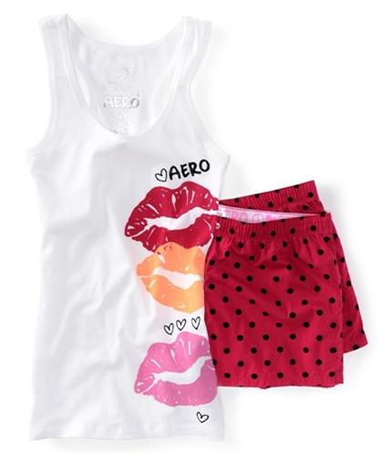 Aeropostale Womens Lips Dorm Tank Boxers Set Pajama Sleep T-shirt 102 XS