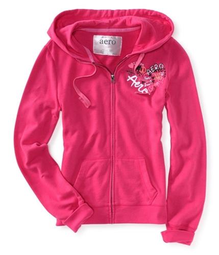 Aeropostale Womens I <3 You Full Zip Up Hoodie Sweatshirt 662 M