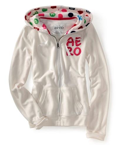 Aeropostale Womens Zip Up Embroidered Hoodie Sweatshirt floral S