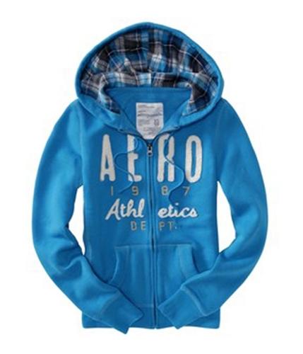 Aeropostale Womens Aero Ny Glitter Hoodie Sweatshirt oceanblue XL