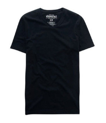 Aeropostale Mens Solid V-neck Graphic T-Shirt black S
