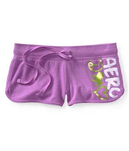 Aeropostale Womens Peace Sign Bulldog Heart Athletic Sweat Shorts 537 XXS