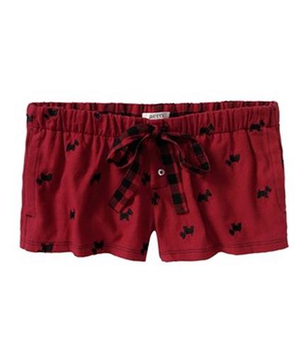 Aeropostale Womens Scotty Dog Sleep Pajama Shorts reds L