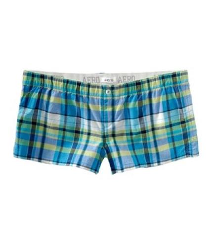 Aeropostale Womens Plaid Boxer Booty Pajama Shorts blues XXS