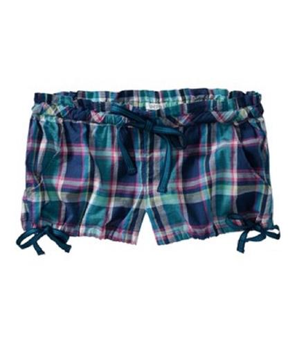 Aeropostale Womens Plaid Knit Sleep Boxers Pajama Shorts oceanc XS