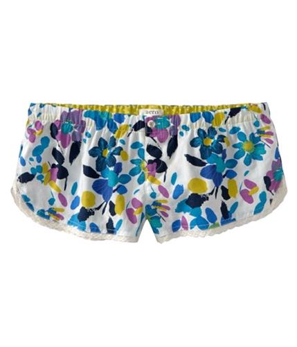 Aeropostale Womens Elastic Band Floral Lace Sleep Pajama Shorts morning M