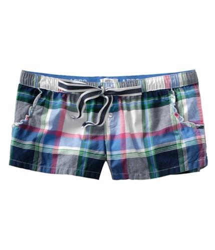 Aeropostale Womens Plaid Drawstring Sleep Boxers Pajama Shorts skydiveblue XXS