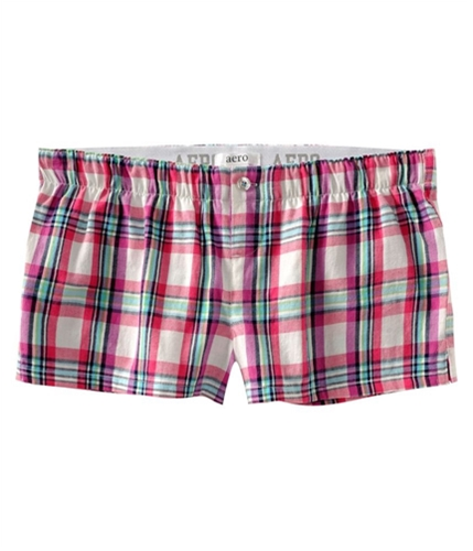 Aeropostale Womens Plaid Boxers Pajama Shorts floral XXS