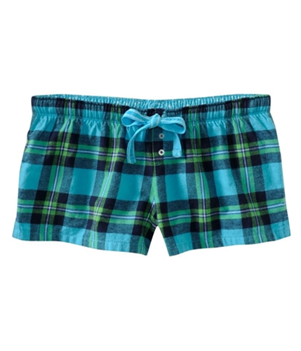 Aeropostale Womens Plaid Sleep Boxers Pajama Shorts turquoise XXS