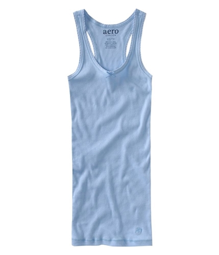 Aeropostale Womens Solid Ribbed Pajama Sleep Cami Tank Top crystalblue XS