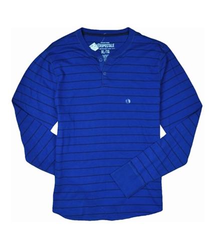 Aeropostale Mens Stripe Long Sleeve Henley Shirt lapisblue M
