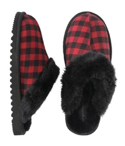 Aeropostale Womens Plaid Fur Scuff Slippers cherryred S