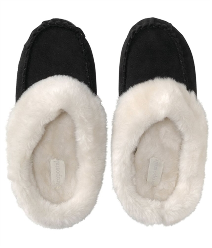 Aeropostale Womens Fur Lined Mocassin Moccasin Slippers black M