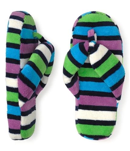 Aeropostale Womens Stripe Fleece Thongs Flip Flop Slippers frictio M