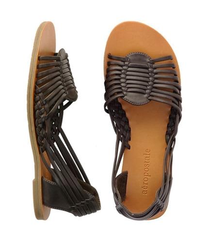 Aeropostale Womens Silver Braided Gladiator Sandals brown 9