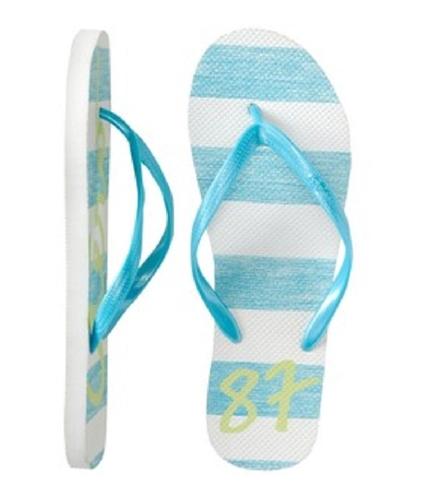 Aeropostale Womens Neon Stripe Flip Flop Sandals curacaoblue 6