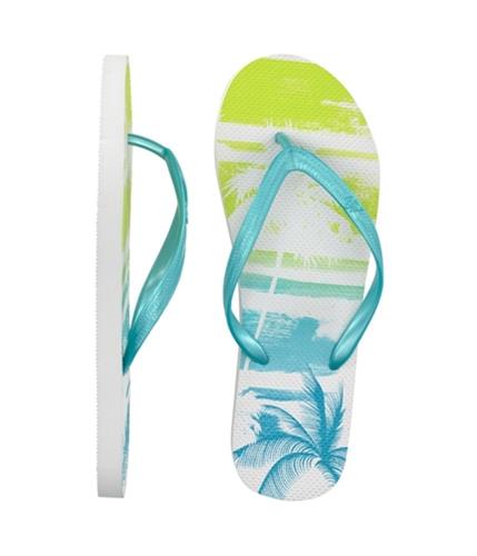 Aeropostale Womens Palm Tree Flip Flop Sandals oceancblue 7