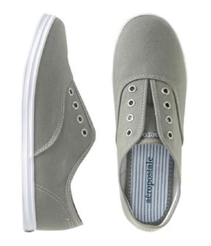 Aeropostale Womens Slip On Stringless Tennis Sneakers darkgray 9