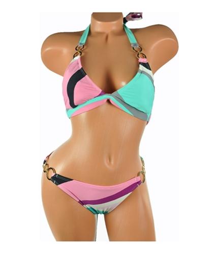 Radio Fiji Womens Stripe Halter Side Metal Ring 2 Piece Bikini blk S