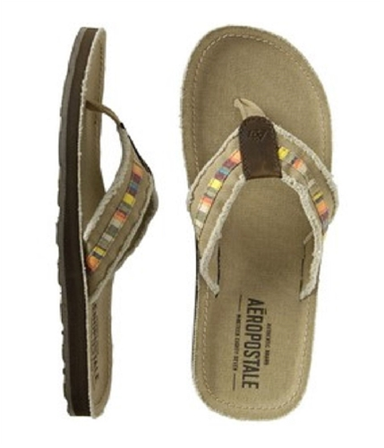 Aeropostale Mens Fabric Outsole Flip Flop Sandals claybrown L