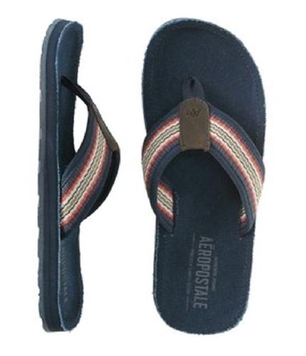 Aeropostale Mens Canvas Flip Flop Sandals deepblue M