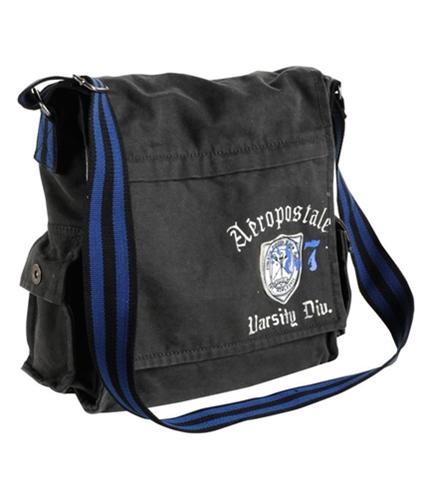 Aeropostale Mens Embroidered Crest Messenger Bag licorice