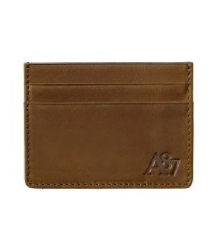 Aeropostale Mens Leather Holder Coin Card Case Wallet cognac One Size