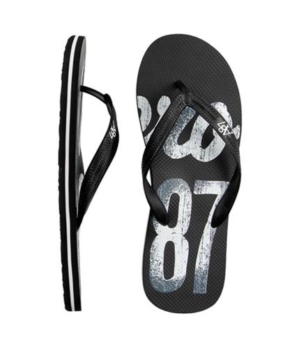 Aeropostale Mens Graphic Print Flip Flop Sandals black M