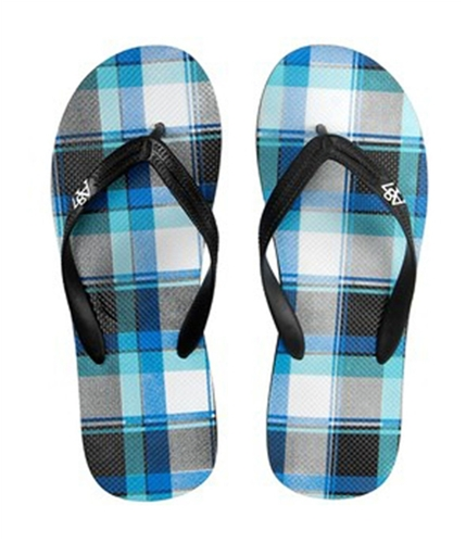 Aeropostale Mens Plaid Flip Flop Sandals black XL