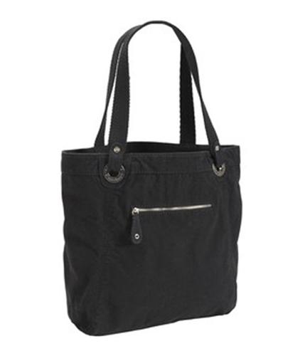 Aeropostale Womens Solid Canvas Zipper Tote Handbag Purse black