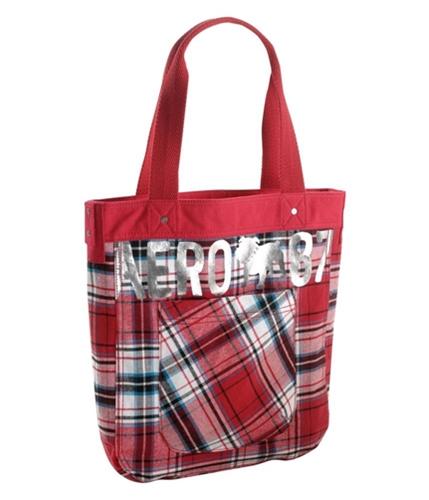 Aeropostale Womens Bulldog Plaid Tote Handbag Purse redclay