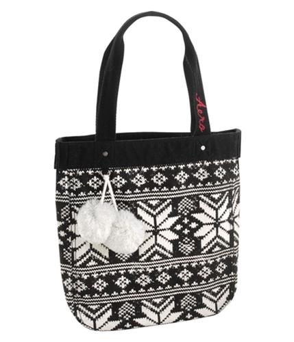 Aeropostale Womens Fair Isle Tote Handbag Purse black