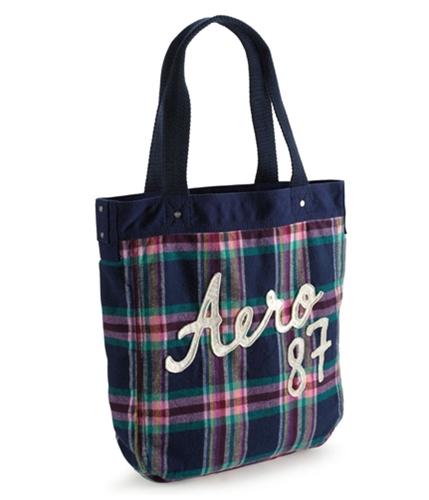 Aeropostale Womens Plaid Embroidered Tote Handbag Purse navyniblue