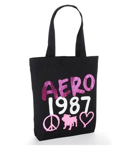 Aeropostale Womens 1987 Glitter Tote Handbag Purse black