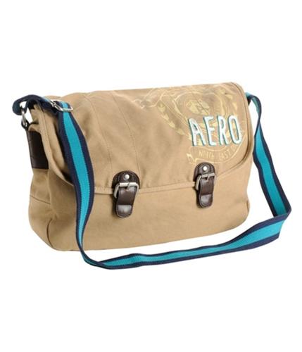 Aeropostale Mens Embroidered Crest Messenger Bag caramelbeige
