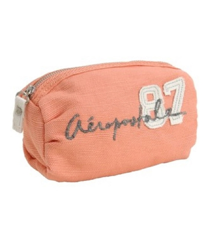 Aeropostale Womens Plaid Make-up Clutch Makeup Bag melon