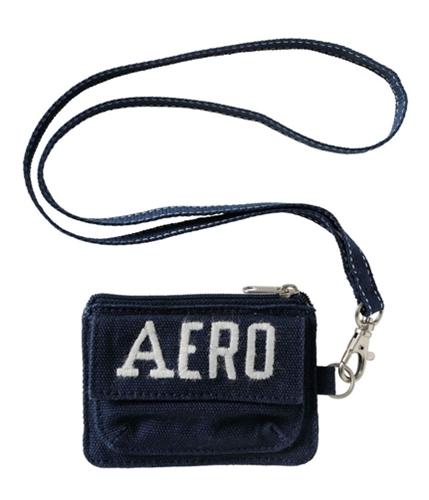 Aeropostale Womens Zippered Solid Id Case Tote Handbag Purse navyni
