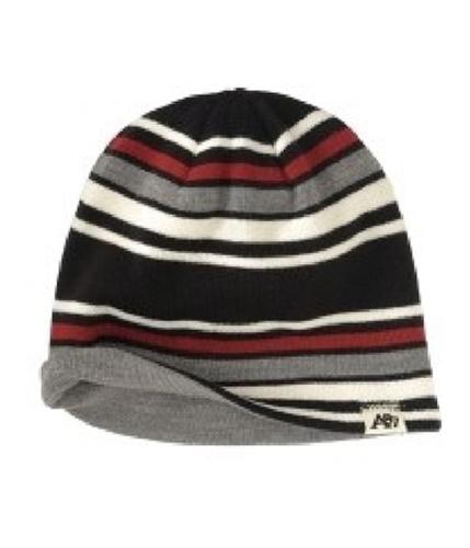 Aeropostale Mens Reversable Multi Stripe Beanie Hat black One Size