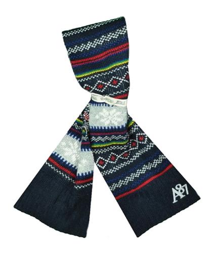 Aeropostale Womens Fair Isle Acrylic Ribbed Knit Scarf deepna Short