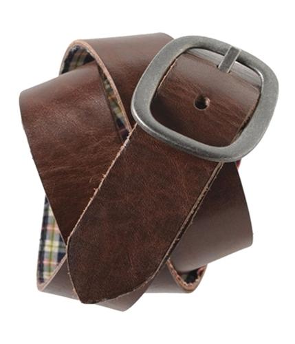 Aeropostale Mens Plaid Leather Reversible Belt brown S
