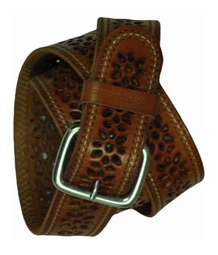 Aeropostale Womens Cognac Embroidered Leather Belt mediumbrownred M