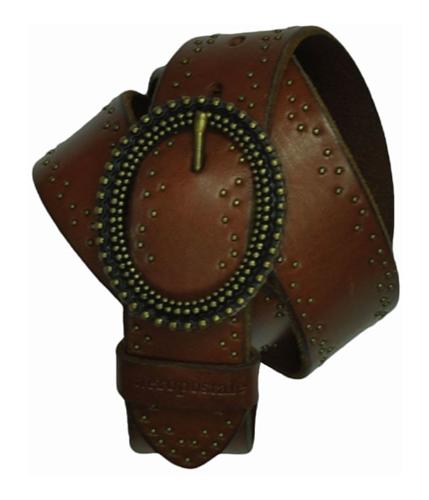 Aeropostale Womens Metal Circle Leather Belt brandybrown S