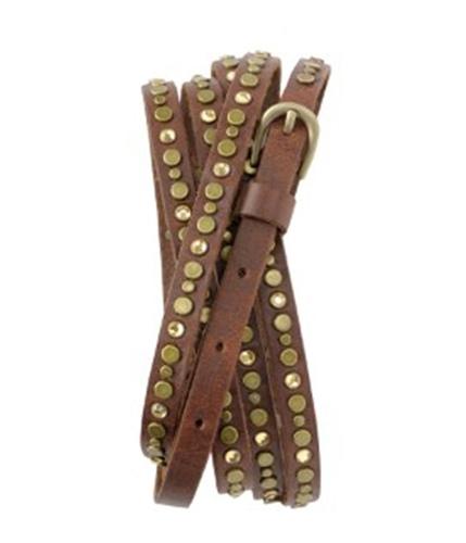 Aeropostale Womens Jewel Metal Leather Skinny Belt brown L
