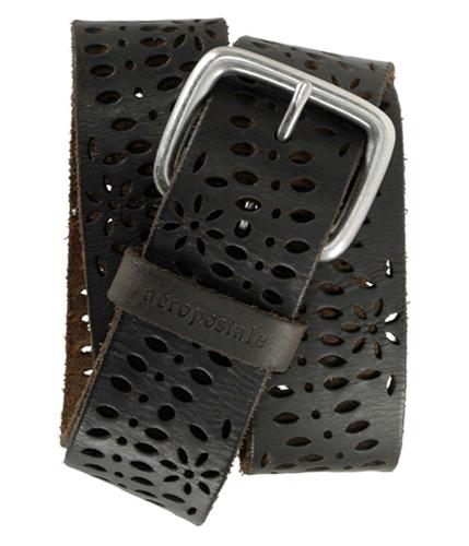 Aeropostale Womens Eyelet Leather Belt dkbrow S