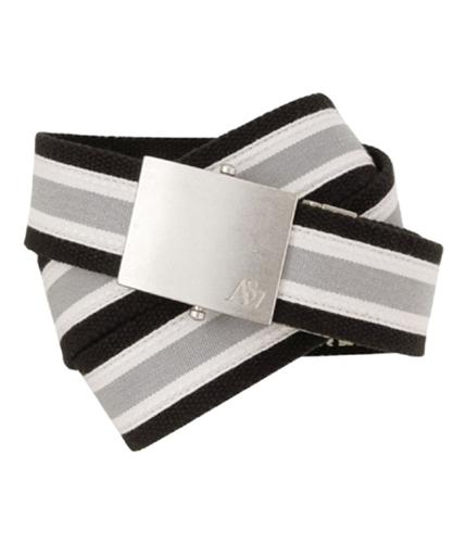 Aeropostale Mens Reversible Stripe Clamp Buckle Belt black S/M