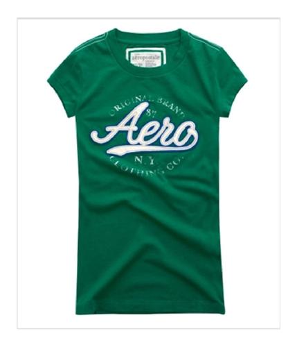 Aeropostale Womens Aero Original Brand Crewneck Graphic T-Shirt bluegreen M